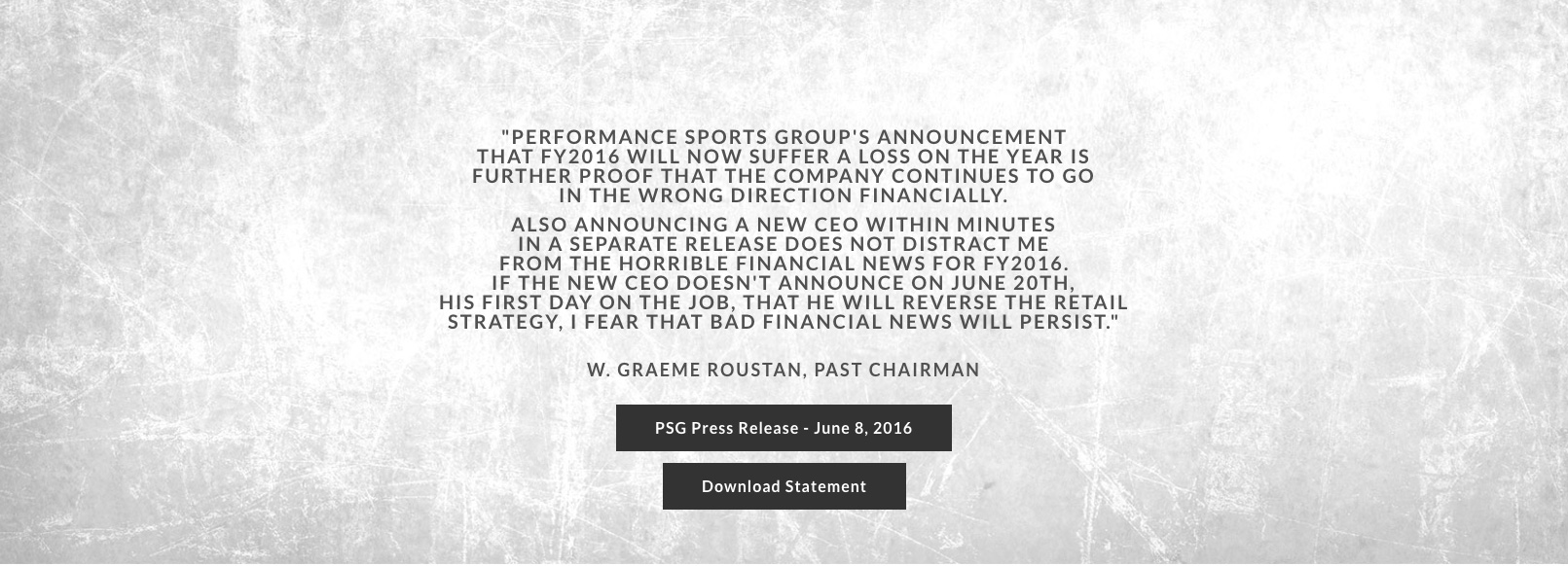 Home Page Sliders Statement from Graeme Roustan