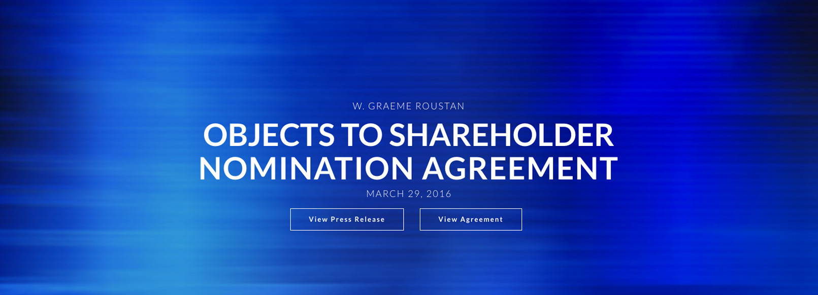 Home Page Sliders Objects to Shareholder Nomination Agreement